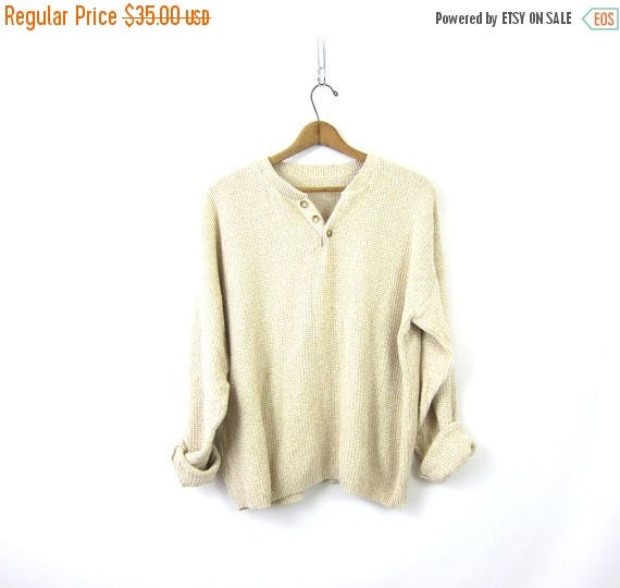 Off White Cotton Henley Sweater Button Pullover Preppy Slouchy 90s Knit Sweater Preppy Oversized Unisex Vintage Mens Size Large