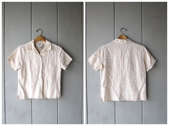 Natural Linen Cotton Blouse Cropped Minimal Top Button Up Short Sleeve BOXY Tee Light Beige 90s Modern Basic Top DES Vintage Womens XS Small