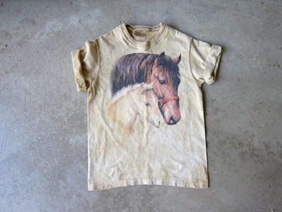 Vintage Horse Tshirt 90s Tie Dye Yellow Ochre Horses Tee Shirt Grunge Novelty Shirt Urban Boho Hipster Women XS