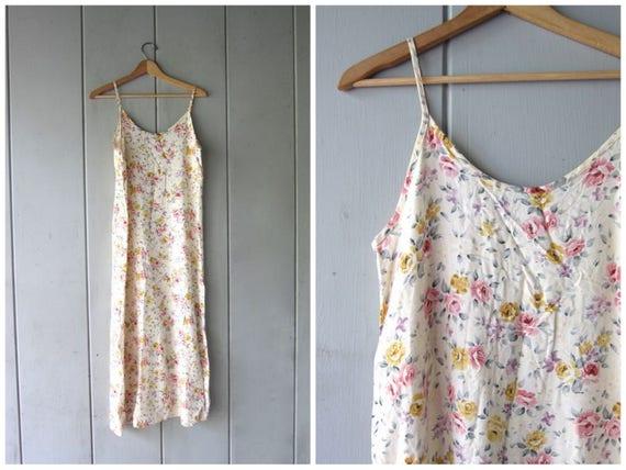 90s Flower Print Dress Cream Pink Slip Dress Long Simple Sleeveless Dress Vintage Sundress Floral Maxi Dress Boho Dress Womens Small