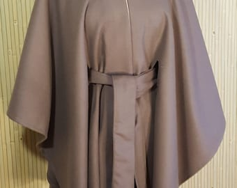 Taupe wool cape with self belt and stand up collar