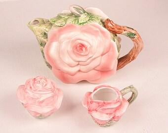 Vintage Ceramic Rose Flower Tea Pot Set Creamer Sugar Omnibus Japan Les Roses Seymour Mann Hand Painted Kitchen Home Decor Set