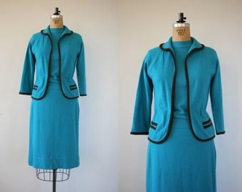 vintage 1960s three piece sweater set / 60s knit suit / 60s robins egg blue sweater and skirt set / full fashioned sweater set / medium