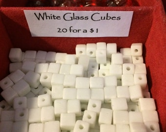 Vintage Glass Cube Beads 20
