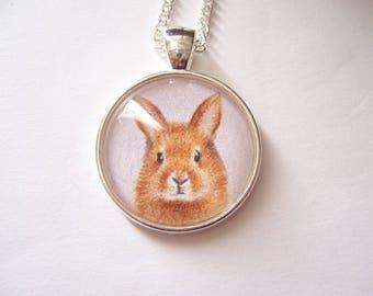 Little bunny rabbit pendant, wearable art jewellery, original animal drawing, miniature pet portrait, silver pendant necklace