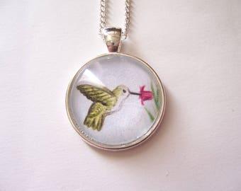 Hummingbird drawing pendant necklace, wildlife wearable art, silver pendant bird jewelry, original pencil drawing, tiny bird necklace