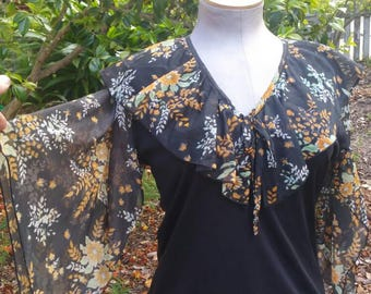 70s witchy boho disco angel wing sleeve floral shirt blouse rocker goth calico 1970s 70's