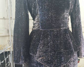 80s 1980s does 40s silver metallic lurex gown dress with peplum glam pinup vamp goth