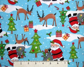 Christmas Fabric - Santa Claus Reindeer Tree Toss Light Blue - AE Nathan YARD
