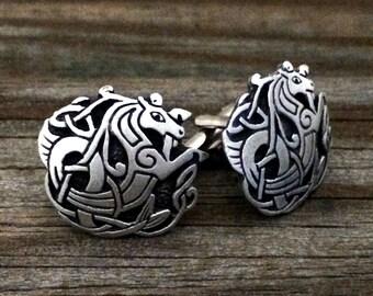 Celtic Seahorse Metal Cufflinks | Men's Cuff Links | Kelpie Pewter Cufflinks | Handcrafted Celtic Cuff Links | by Treasure Cast Pewter