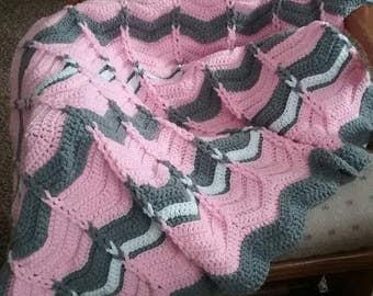 Pattern Crochet Cable Loop Chevron Afghan Blanket, Ripple baby blanket, PDF