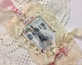 Eiffel Tower Tag, Wedding Gift Tag, Shabby French Tag, Lace Collage, Mixed Media Art Tag, Handmade Tag