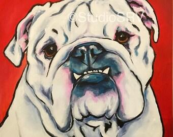 12x12 UGA white bulldog print