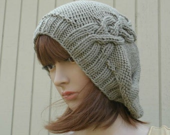 Knit Hat, Winter Hat, Slouchy Hat, Hand Knit Hat, Womens Knit Hat, Womens Hat, Cable Hat, The Cableret in Taupe, Winter Accessories
