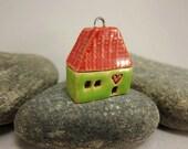 Love Lives Here...Ceramic Cottage Pendant...Grass Green