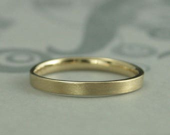 Comfort Fit Ring~Flat Wedding Ring~2.5mm Wide Band~Women's Wedding Ring~14K Gold Band~Straight & Narrow Band~Gold Wedding Band~Gold Comfort