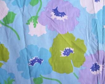 Fun Vintage Full Size Flat Sheet Bold Floral Light Blue Olive Green Lavender