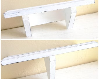 Pair of Shabby Chic White Wood Wall Shelves 2 Two Farmhouse Style