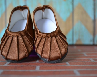 Doll Shoes - Brown Pleated Flats - fits American Girl