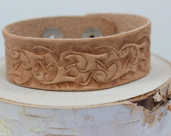 Leather tooled floral cuff