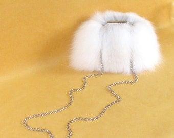 "Arctic Fox Fur Clutch~ White ""Bella Bag"" ~ Plush Fur Handbag ~ Small Fur Handbag ~ Genuine Fur Bag ~ White Fur Minaudière ~ Formal White Bag"