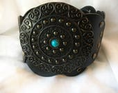 Vintage Black Faux Leather Belt with Large Turquoise Buckle