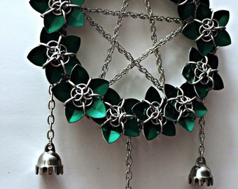 Made To Order Pentacle Chainmail Dream Catcher Stainless Steel Scalemail Flowers and Bells