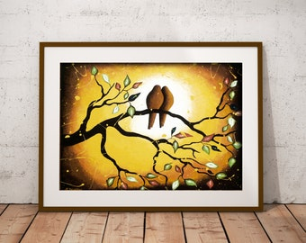 Love Birds on Branch Bird Wall Art Print, Earth Tones French Country Decor, Romantic Gift for Couple