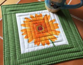Fresh Flowers - Mug Rug or Candle Mat  Oversized Coaster / Orange / Gerbera Daisy / gift for her / quilted / handmade / office decor
