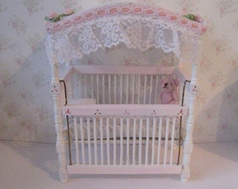 Miniature Crib, dollhouse  Cot, Childs crib, Pink and White Crib, lace trimmed cot, twelfth scale  Doll house miniature