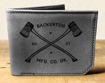 wallet - leather wallet - mens wallet - Backerton Axes wallet- 021