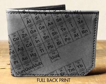 wallet - leather wallet - mens wallet - periodic wallet - bifold wallet - unisex wallet - science wallet - elements wallet