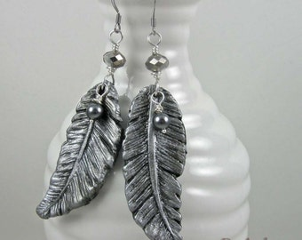 Dark Silver Feather Earrings, rustic polymer clay dangles on silver wires