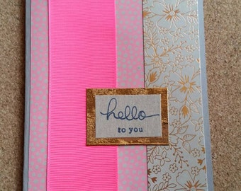Pink, fawn & gold - handmade card - thinking of you / hello