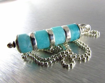 20 % Off Amazonite and Sterling Silver Stacked Pendant Ball Chain Necklace