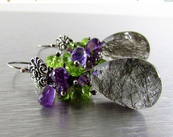 25% Off Rutilated Quartz With Amethyst and Peridot Oxidized Sterling Silver Cluster Earrings