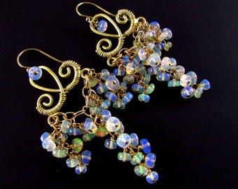 Ethiopian Welo Opal Gold Filled Cluster Ornate Gemstone Chandelier Earrings