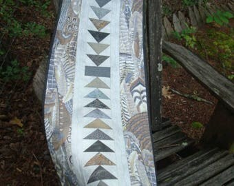 Gray and Taupe Feather Quilted Table Runner