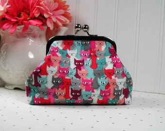 Metal Frame Purse, Frame Purse Clutch, Kiss Lock Purse .. Cat Crowd