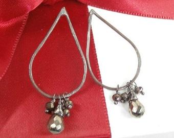50% SALE Pyrite Hoop Earrings Oxidized Sterling Silver Handcrafted Teardrop Post Earrings Minimalist Jewelry
