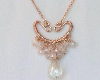 Rose Gold Bridal Necklace Crystal Quartz Wire Wrap Pendant Wedding Jewelry Beach Wedding Rose Gold Boho Pendant