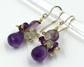 Amethyst Gemstone Dangle Earrings, Amethyst Moonstone Cluster Earrings, Handmade Gemstone Earrings, Wire Wrap Gold Fill February birthstone