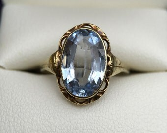 Sale//French Belle Epoque Perwinkle Aquamarine Paste Ring