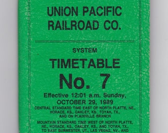 1989 union pacific railroad co. no.7 timetable