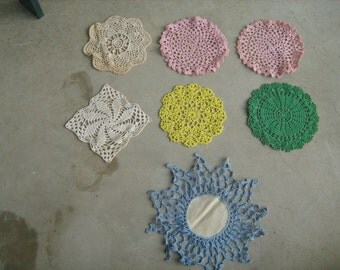 estate find 7 vintage assorted crocheted doilies