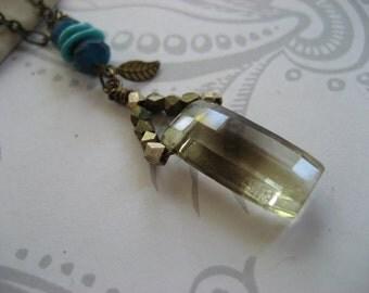 Veronica Necklace - long necklace with a princess faceted smokey quartz gem