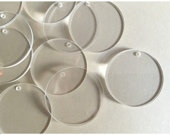 25 Round Acrylic Discs Shapes with Holes- Acrylic Circle Blanks - Keychain Blanks - Jewelry Blanks - Acrylic Blanks for Vinyl