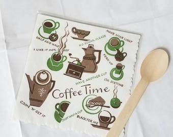 Rare Vintage Coffee Time Napkins from 1960's in Amazing Vintage Condition- set of 18