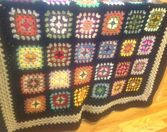 Granny Square Afghan with Funky Variety in Multiple Colors Black Border