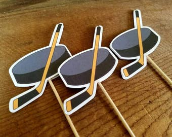 Sports Party - Set of 12 Hockey Cupcake Toppers by The Birthday House